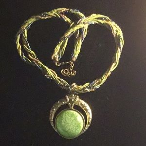 Jewelry - Brass and Beaded Chain Green Stone Necklace